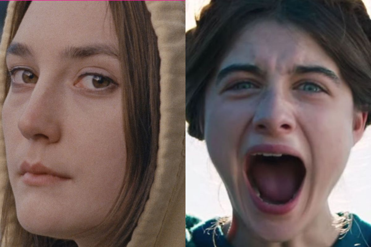 A diptych. On the left, a girl in a hoodie. On the right, a girl screaming.
