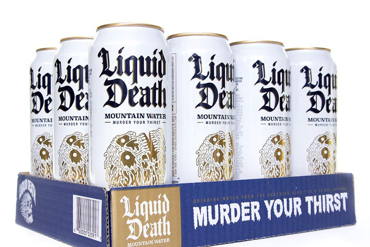 Liquid Death aluminum tallboy cans of water, with heavy metal-looking skull designs on the cans.