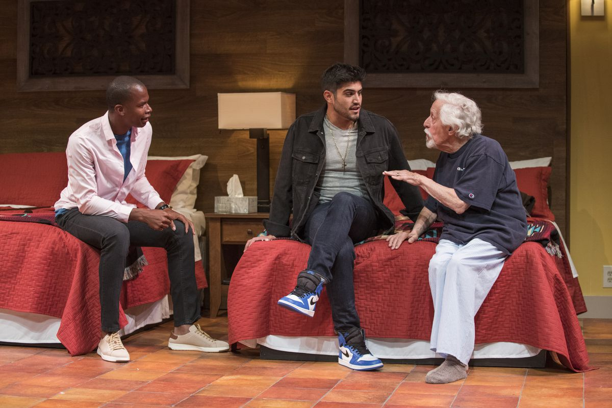 """Sean Parris (from left), Danny Martinez and Mike Nussbaum in a scene from """"Curve of Departure"""" at Northlight Theatre. 