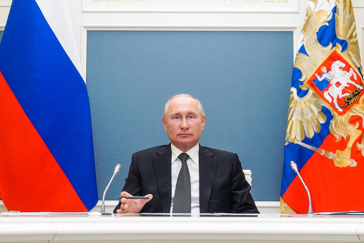 Russia's President Vladimir Putin attends inauguration ceremonies for Defense Ministry medical centers via video.