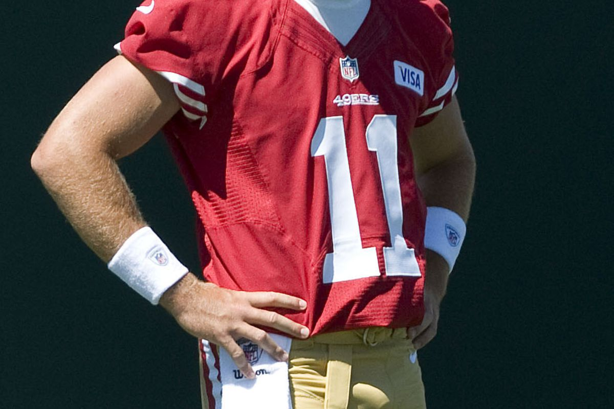 July 28, 2012; Santa Clara, CA, USA; San Francisco 49ers quarterback Alex Smith (11) during training camp at the 49ers practice facility.  Mandatory Credit: Ed Szczepanski-US PRESSWIRE
