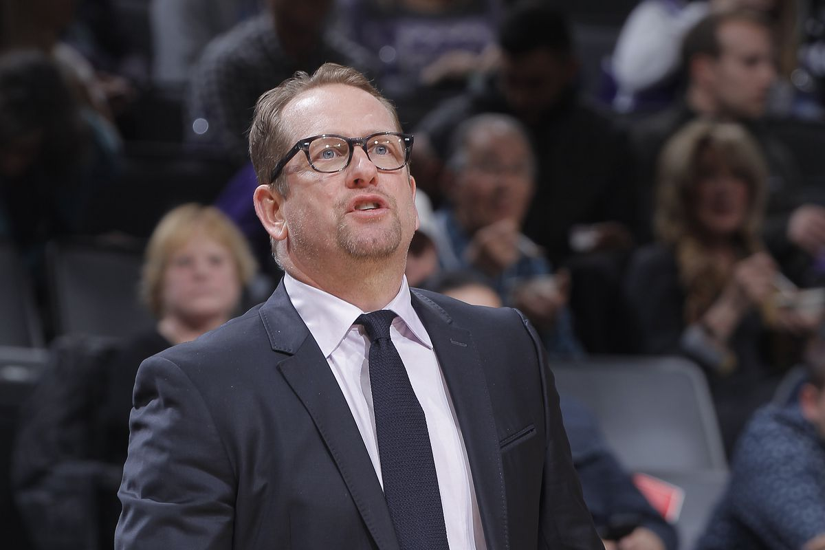 Head Coach Nick Nurse of the Toronto Raptors coaches against the Sacramento Kings on March 8, 2020 at Golden 1 Center in Sacramento, California.