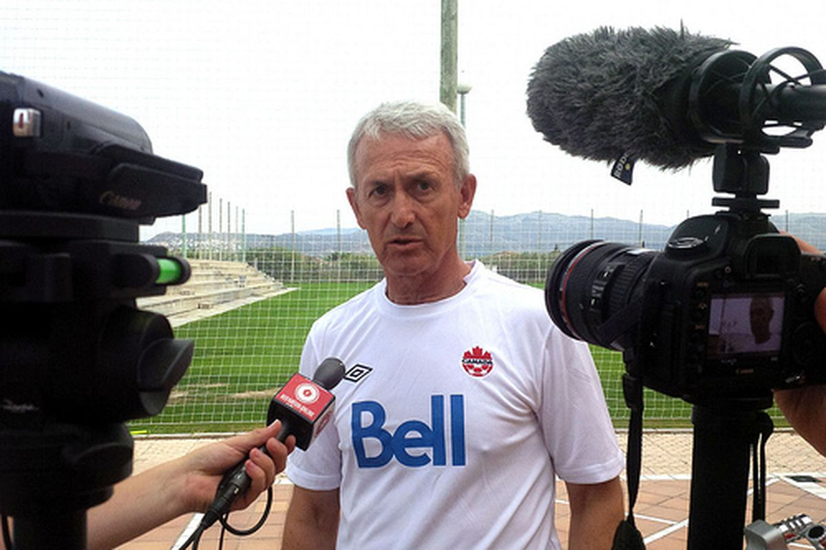 Benito Floro faces the unrelenting Canadian media glare.