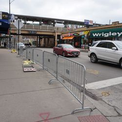 Pedestrian barricades set up along Addison Street for the upcoming St Patrick's Day celebrations
