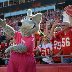 Kansas City Chiefs mascot KC Wolf and fans do the chop during the second half of the game against the Oakland Raiders at Arrowhead Stadium. The Chiefs won 24-7.