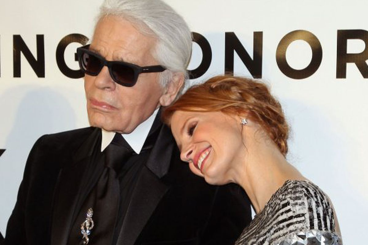 """Karl and Jessica Chastain. Photo via <a href=""""http://nymag.com/thecut/2013/11/lagerfeld-on-diets-and-becoming-a.html"""">The Cut</a>."""