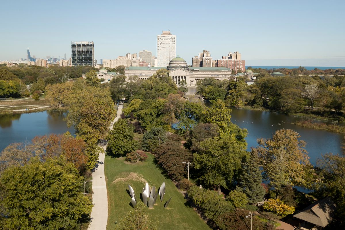 An aerial view of the a park and lake.