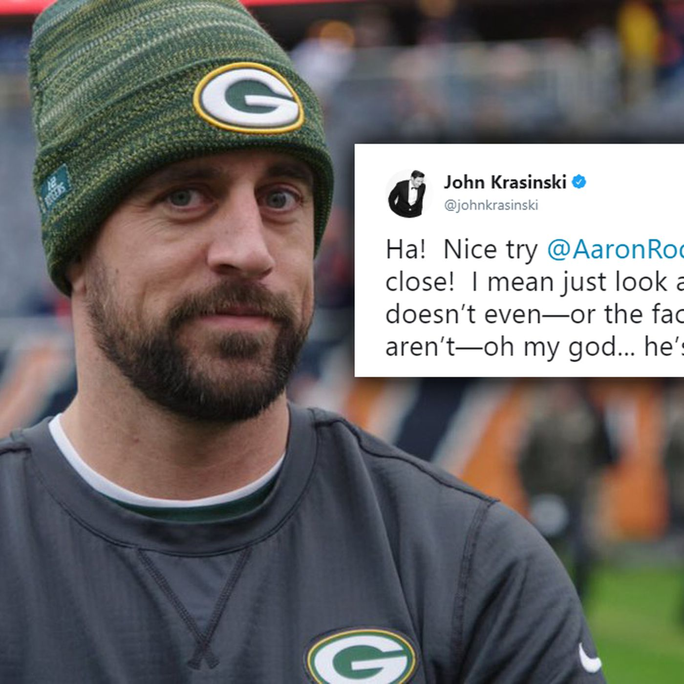 Aaron Rodgers Impression Of Jim From The Office Has Been Approved By John Krasinski Sbnation Com