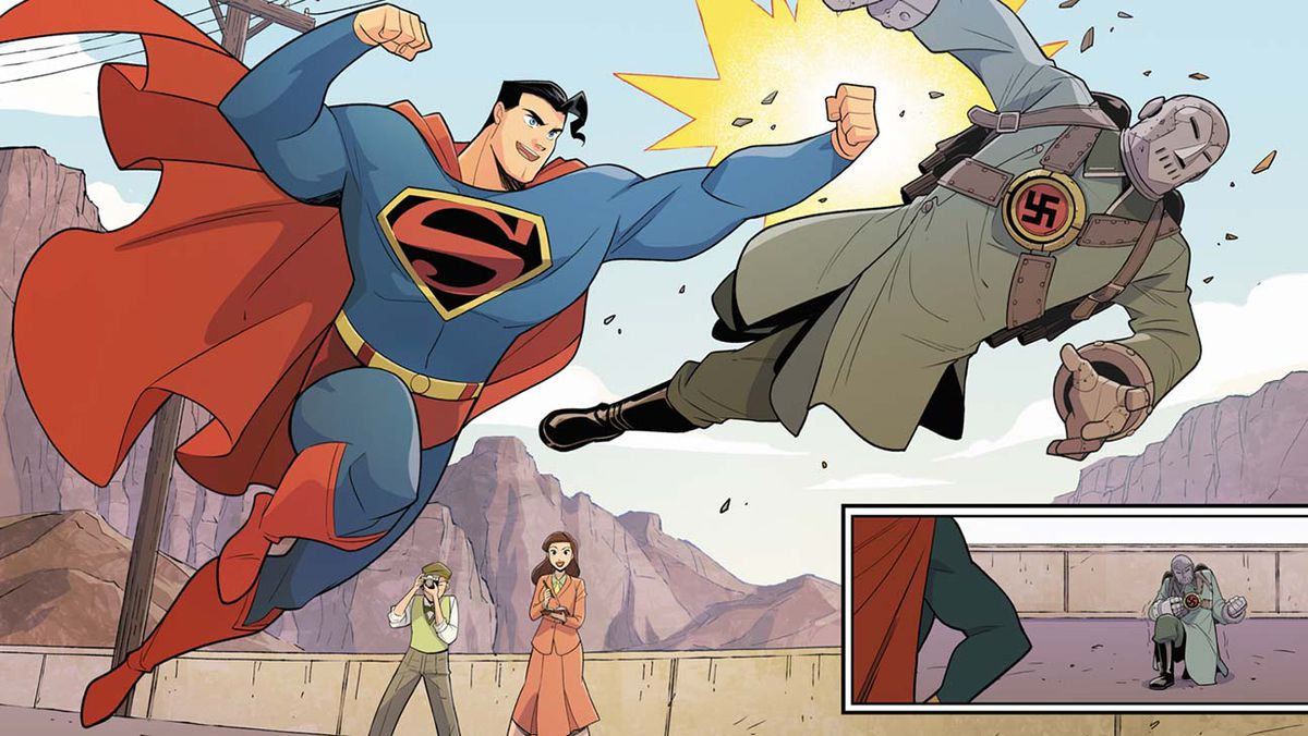Superman punches a nazi as reporters look on, in art from Superman Smashes the Klan, DC Comics (2019).