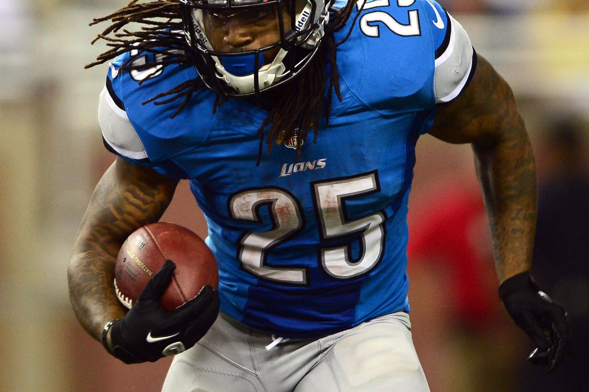 Aug 30, 2012; Detroit, MN, USA; Detroit Lions running back Mikel Leshoure (25) runs the ball in the second quarter against the Buffalo Bills in a preseason game at Ford Field. Mandatory Credit: Andrew Weber-US Presswire