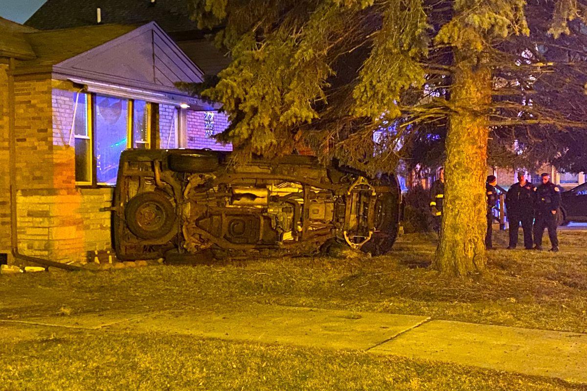 Chicago police and fire crews investigate a crash Feb. 5, 2020 in Jefferson Park.
