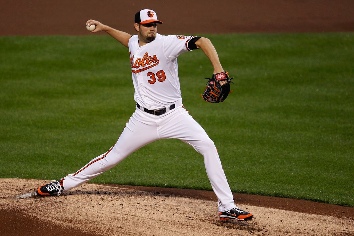 Can Jason Hammel and the Orioles make it to 13 games over .500 against the Nationals tonight?  (Photo by Rob Carr/Getty Images)