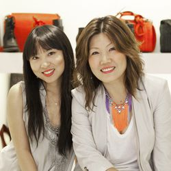 Nancy Zhang, left, and Kay Lee, right
