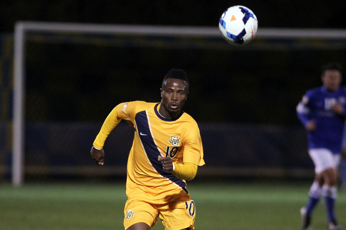C. Nortey recorded the first goal of the 2014 season for the Golden Eagles.