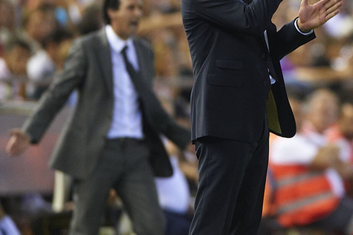Pep calls out some instructions to his oft-confused Barcelona side.