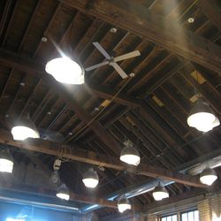 The ceiling in the front bar area.