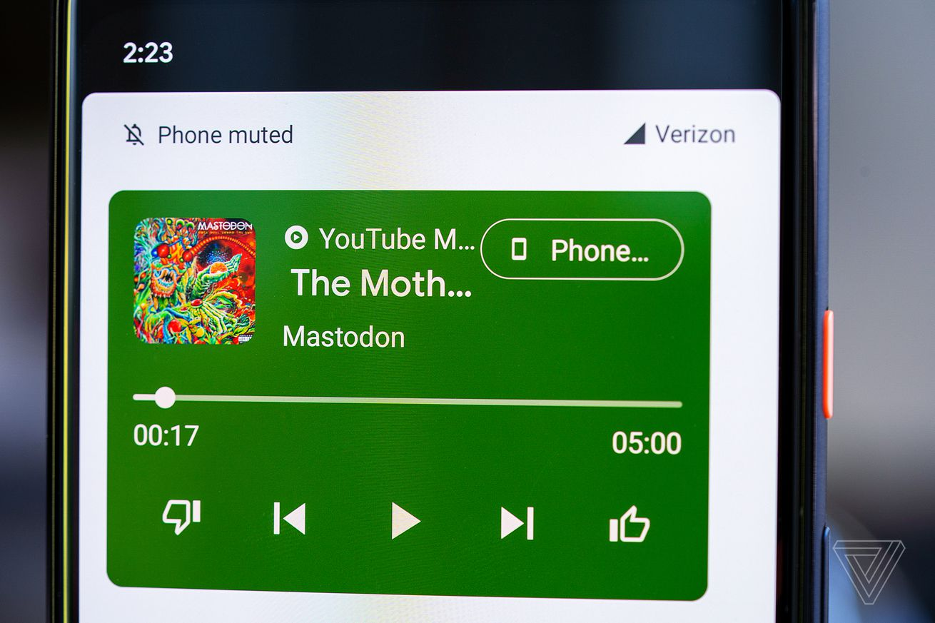 Android 11 puts media controls above Quick Settings, and lets you choose your output