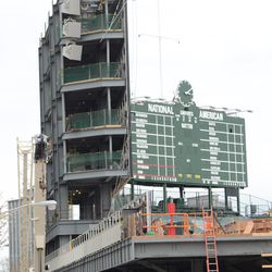 3:10 p.m. Another view showing the end of the left-field bleachers -