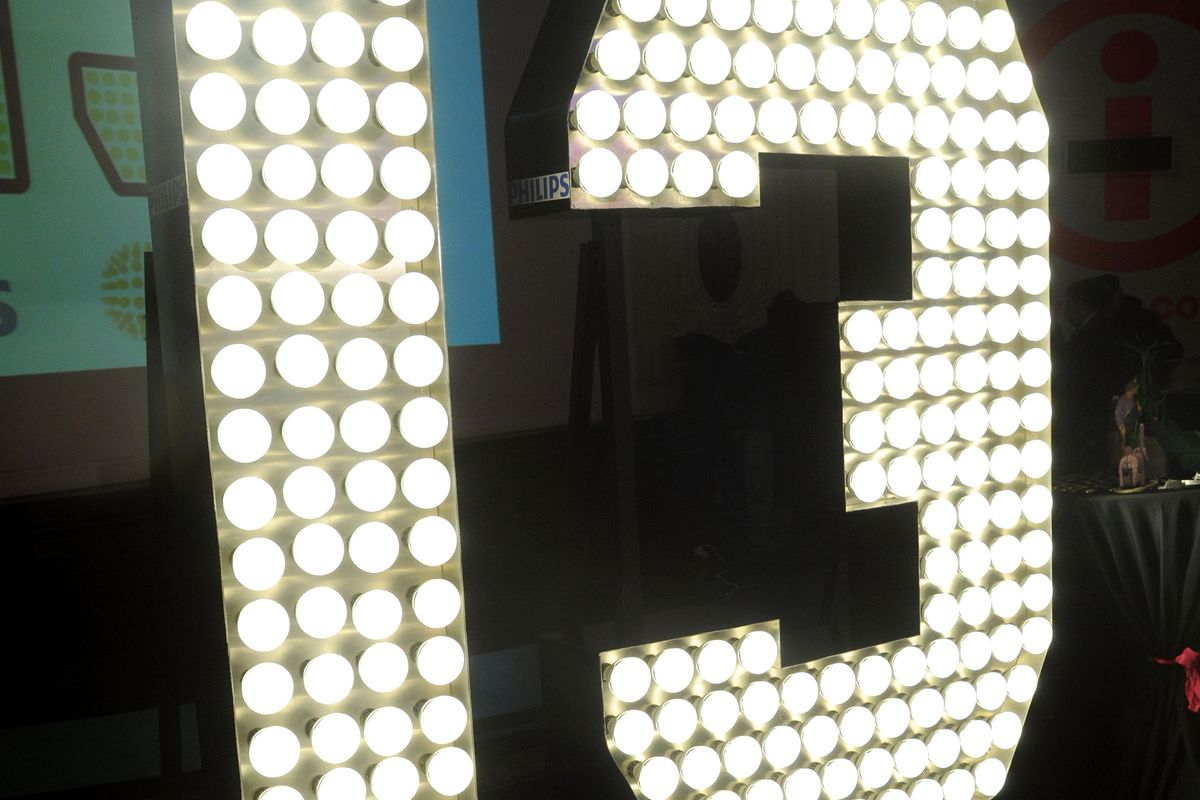 The number 13 in lights