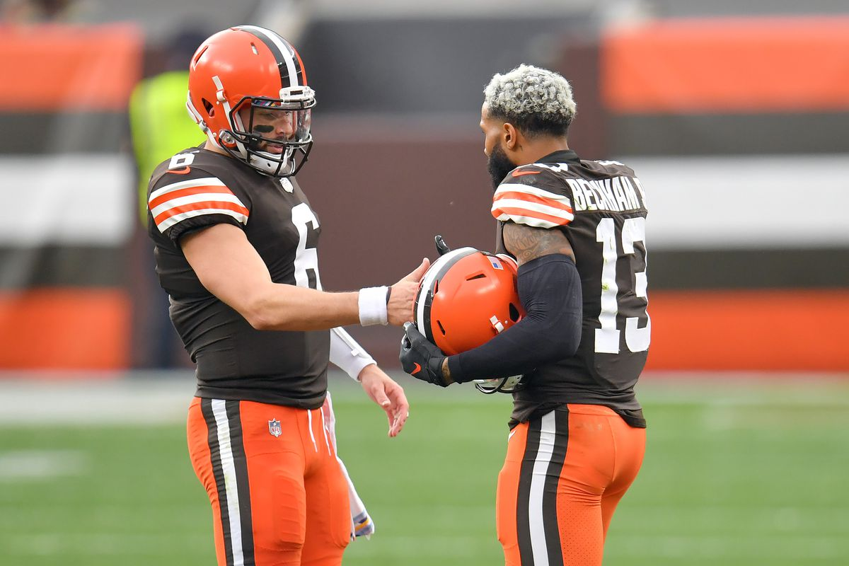 Quarterback Baker Mayfield #6 celebrates with wide receiver Odell Beckham Jr. #13 of the Cleveland Browns during the first half against the Indianapolis Colts at FirstEnergy Stadium on October 11, 2020 in Cleveland, Ohio.