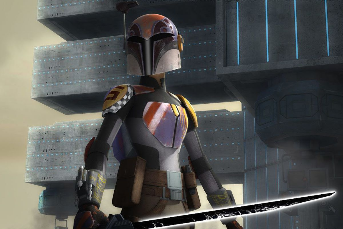 Sabine holds the darksaber during the Siege of Mandalore in Star Wars: The Clone Wars