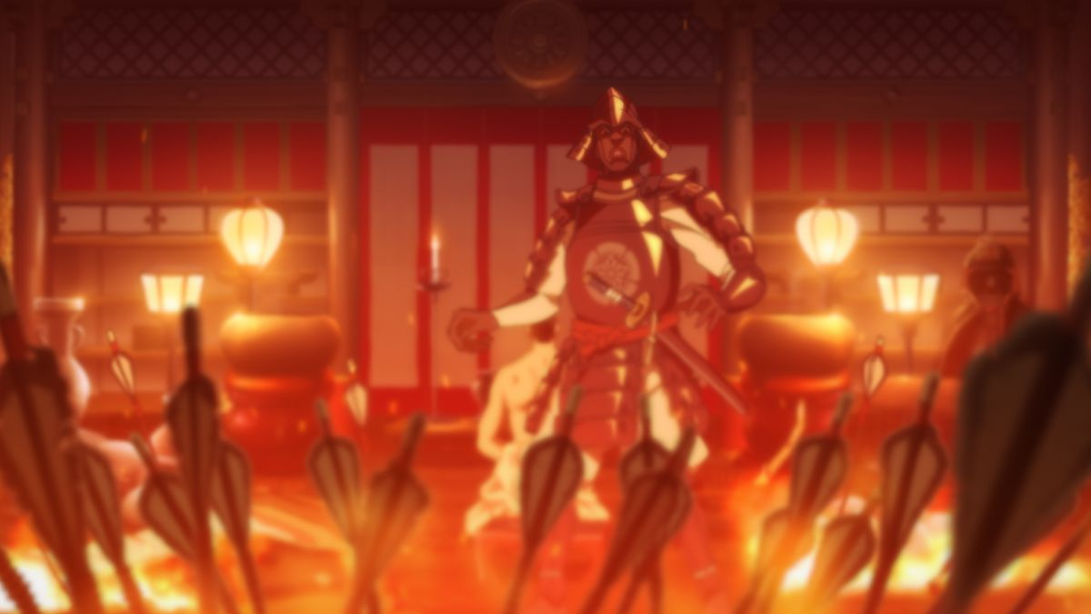 An armored Yasuke watches as flaming arrows descend upon Nobunaga's private chambers.