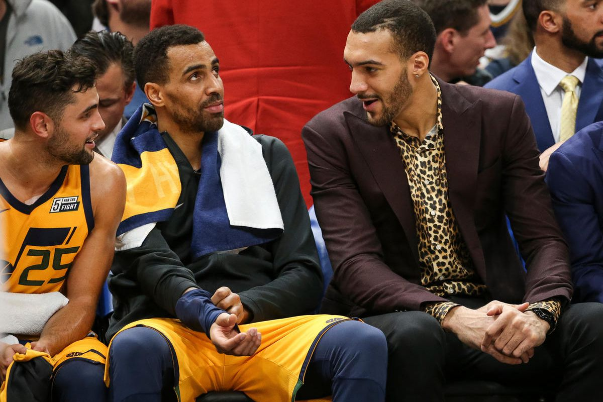 Utah Jazz guard Raul Neto (25), forward Thabo Sefolosha (22) and center Rudy Gobert (27) chat during the game against the Denver Nuggets at Vivint  Arena in Salt Lake City on Tuesday, Nov. 28, 2017.