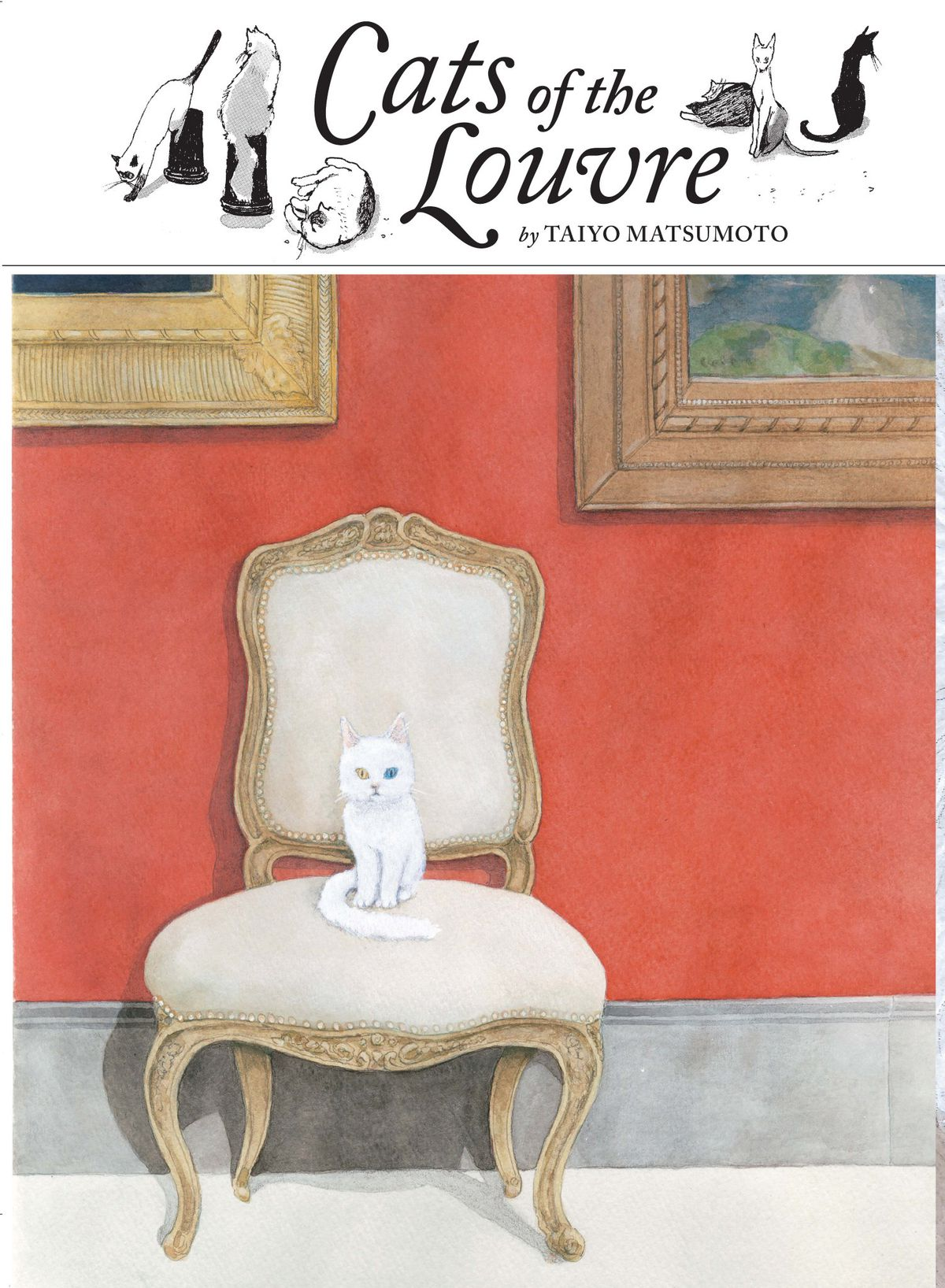 A white cat with one blue eye and one yellow sits on an ornate chair in an art gallery, on the cover of Cats of the Louvre, Viz Media (2019).