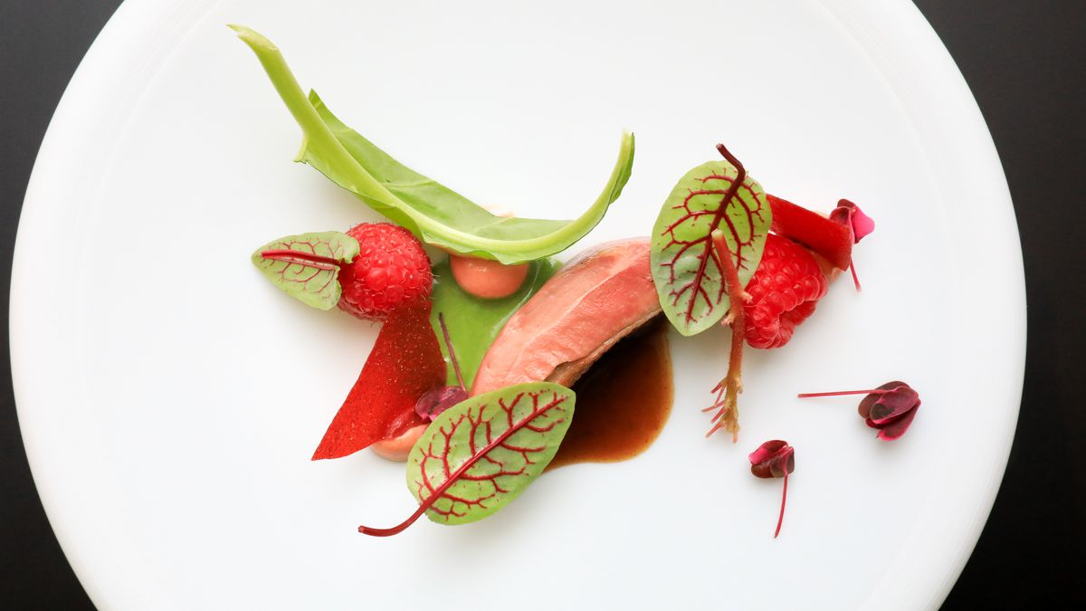 Squab, guajillo, raspberry, sorrel