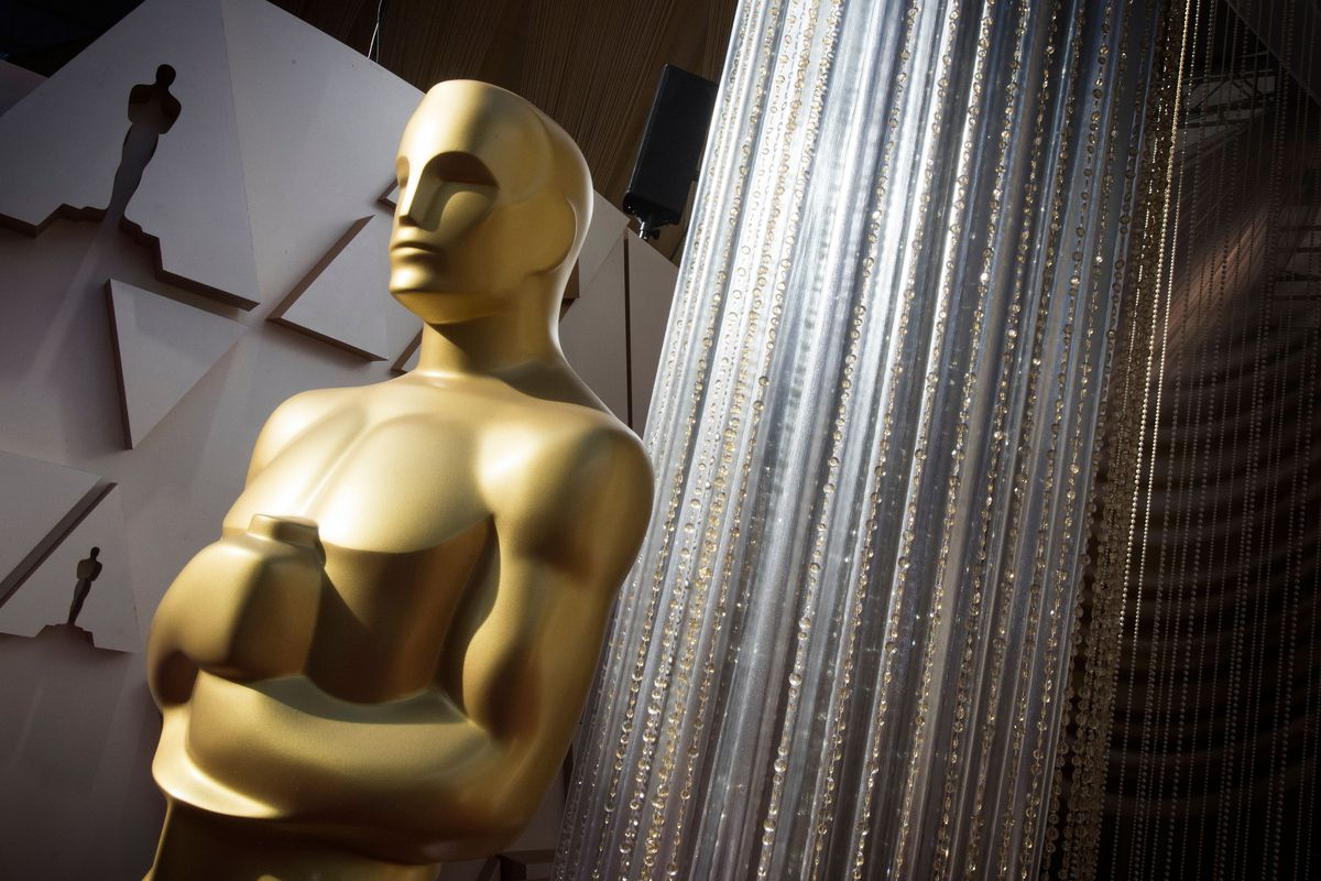 A giant Oscars statue on the red carpet at last year's Oscars.
