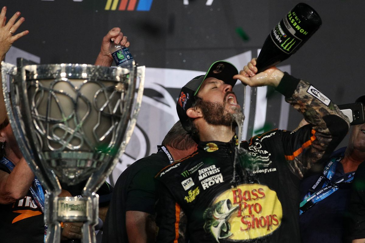 martin truex jr showcases ability outduels kyle busch to win cup