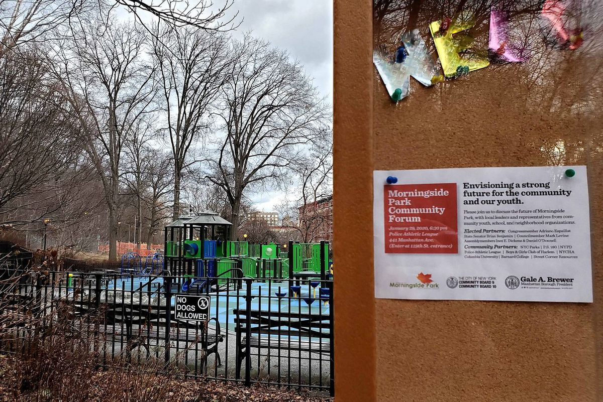 A flyer on a bulletin board near the playground, advertising the Morningside Park Community Forum, on Jan. 27, 2020.