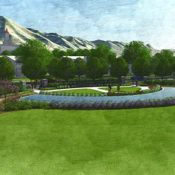 Close-up view of the Pioneer Cemetery, looking east. This is an artist's rendering of a portion of the planned residential community near the site of the Tooele Valley Utah Temple.