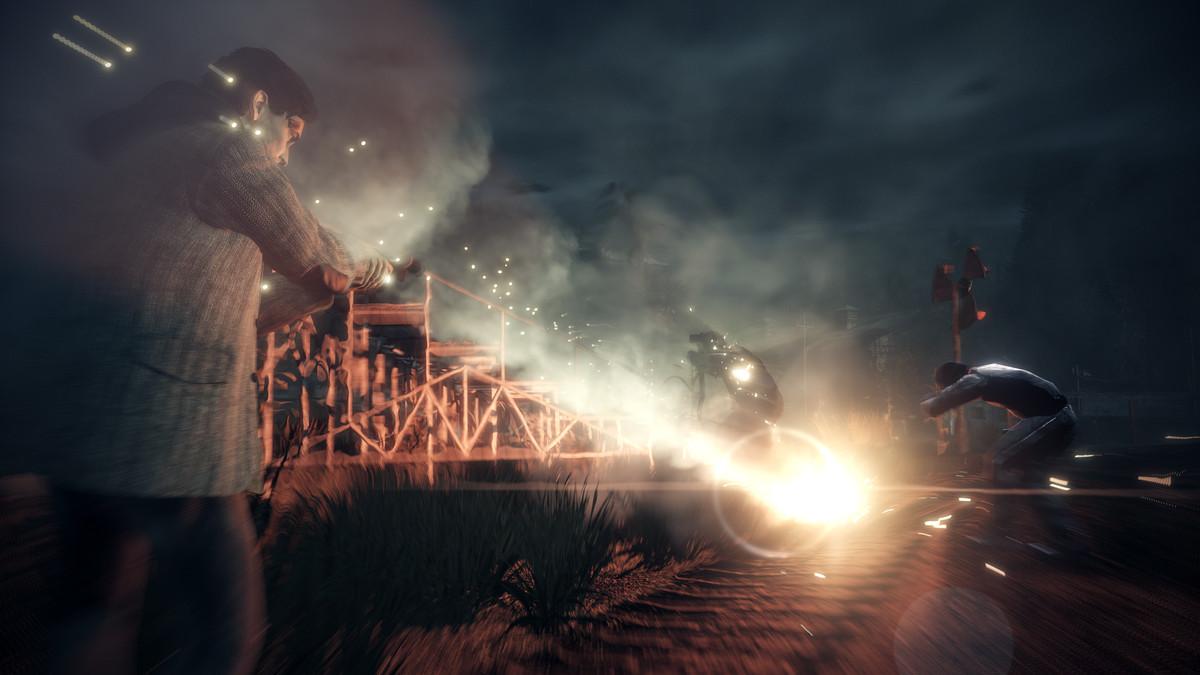 Alan Wake battles a shadow in Alan Wake: Remastered