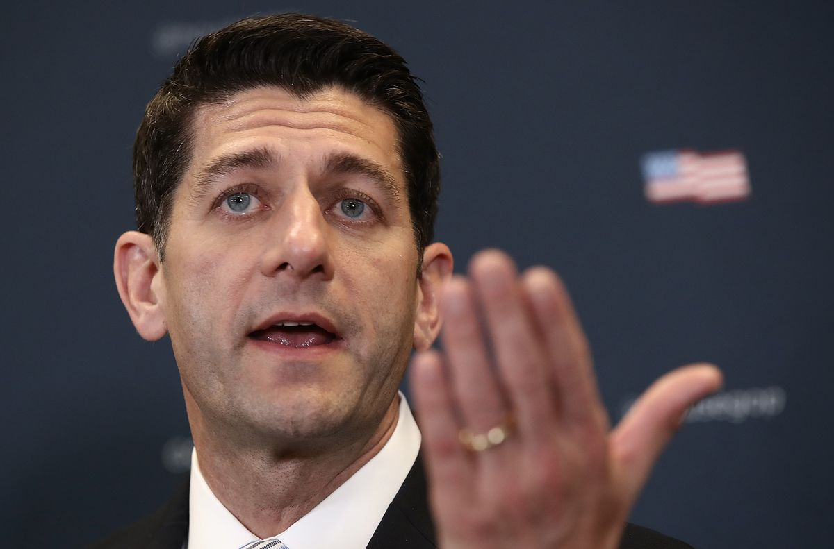 House Speaker Paul Ryan And House GOP Leadership Speak To Media After Party Conference Meeting