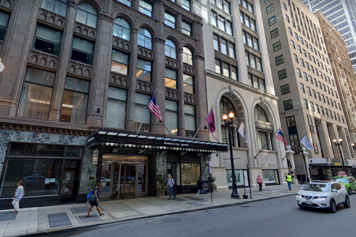Police are investigating after someone threw a television from a 15th-floor window April 20, 2020, at a hotel in the first block of South LaSalle Street