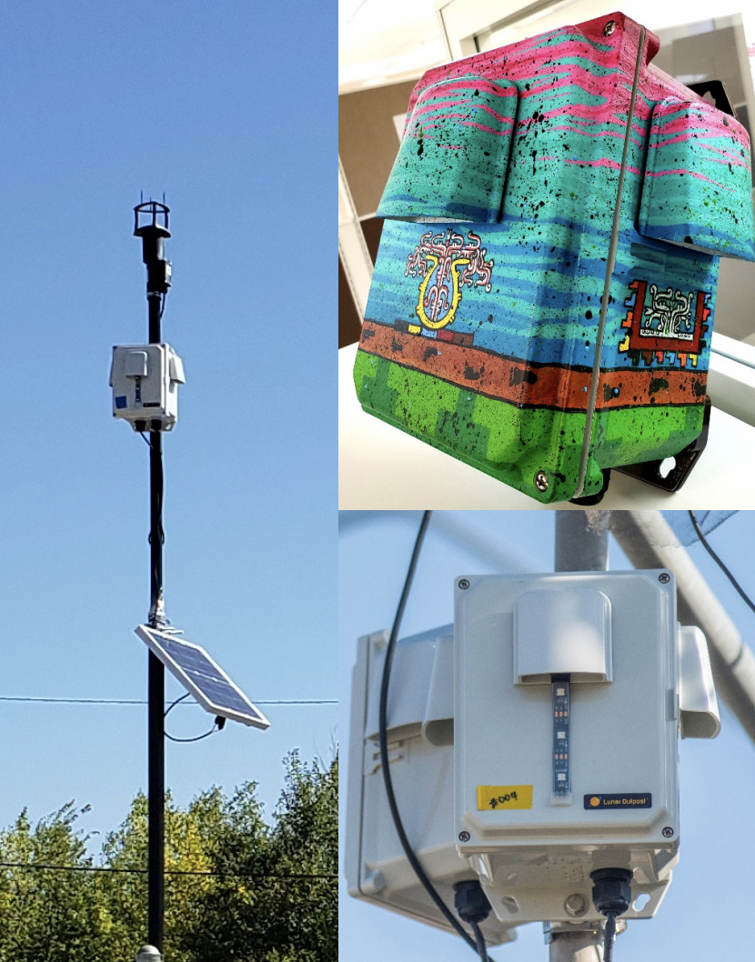 Pictures of the air quality sensors that are being installed at select public schools in Denver