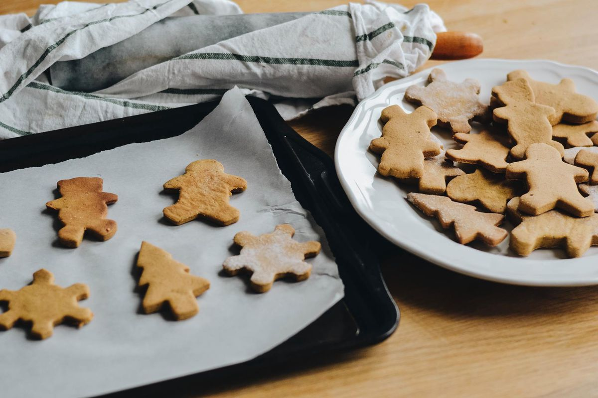 Gingerbread shapes on a plate and tray.