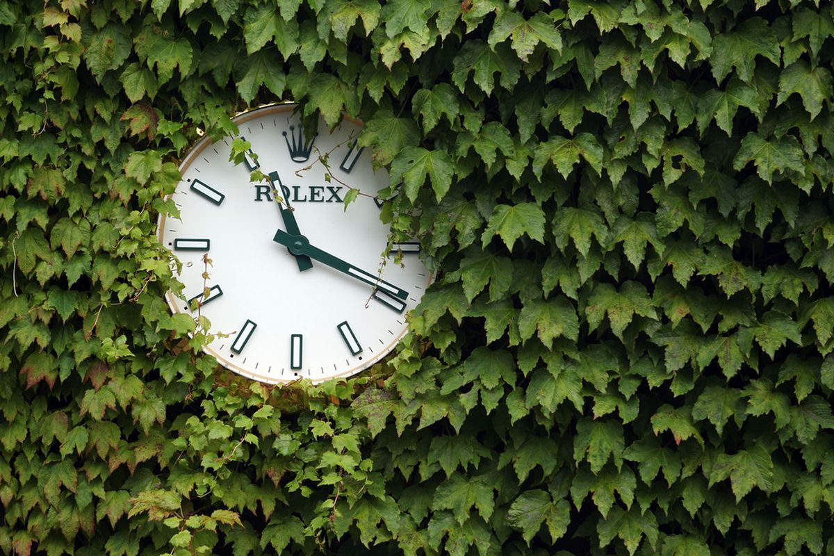 LONDON, ENGLAND - JUNE 29:  A general view of a tournament clock on day five of the Wimbledon Lawn Tennis Championships at the All England Lawn Tennis and Croquet Club on June 29, 2012 in London, England.  (Photo by Dan Kitwood/Getty Images)