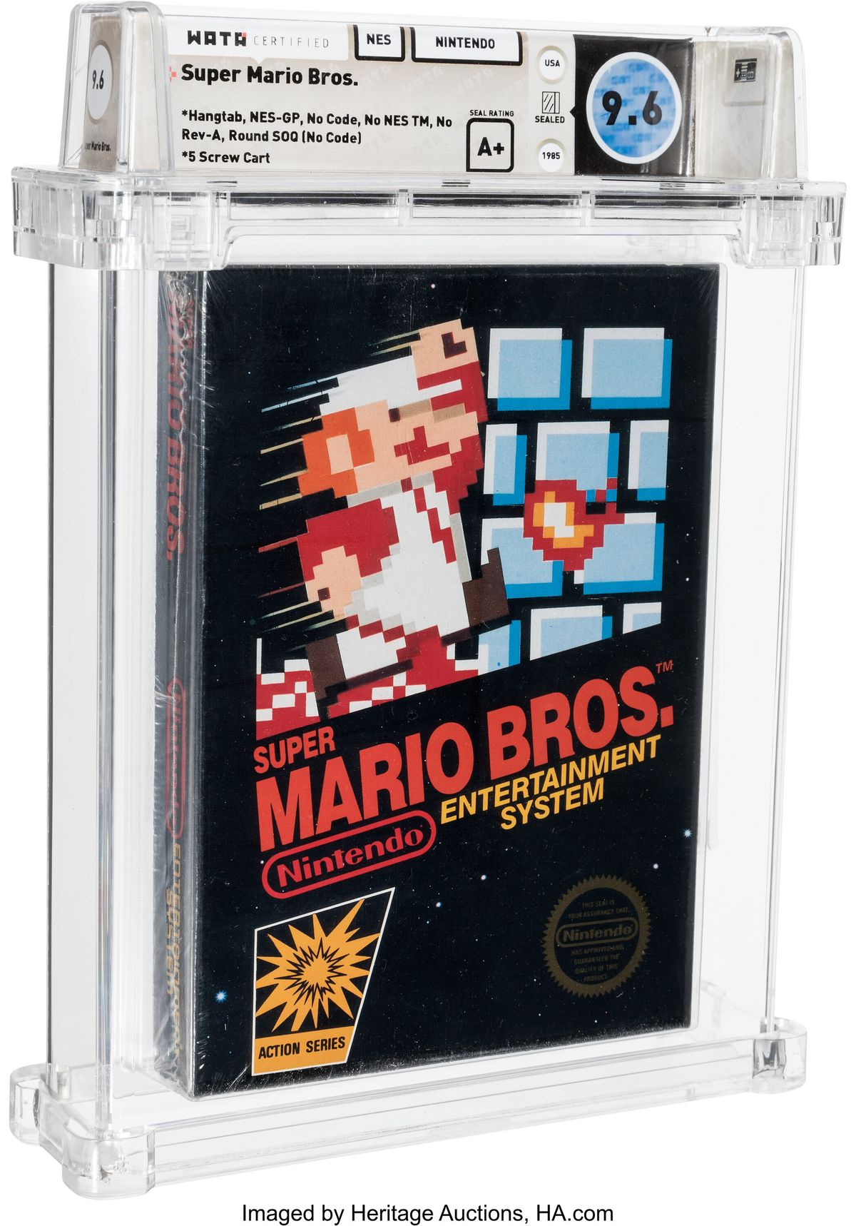 A photo of Super Mario Bros. for NES in acrylic casing