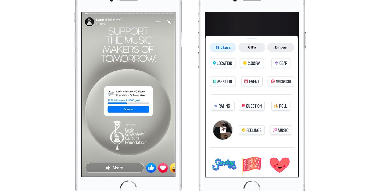 Facebook launches an Instagram donation button and a fundraising sticker in Facebook Stories, more broadly rolls out fundraising on Facebook gaming live streams (Ashley Carman/The Verge)