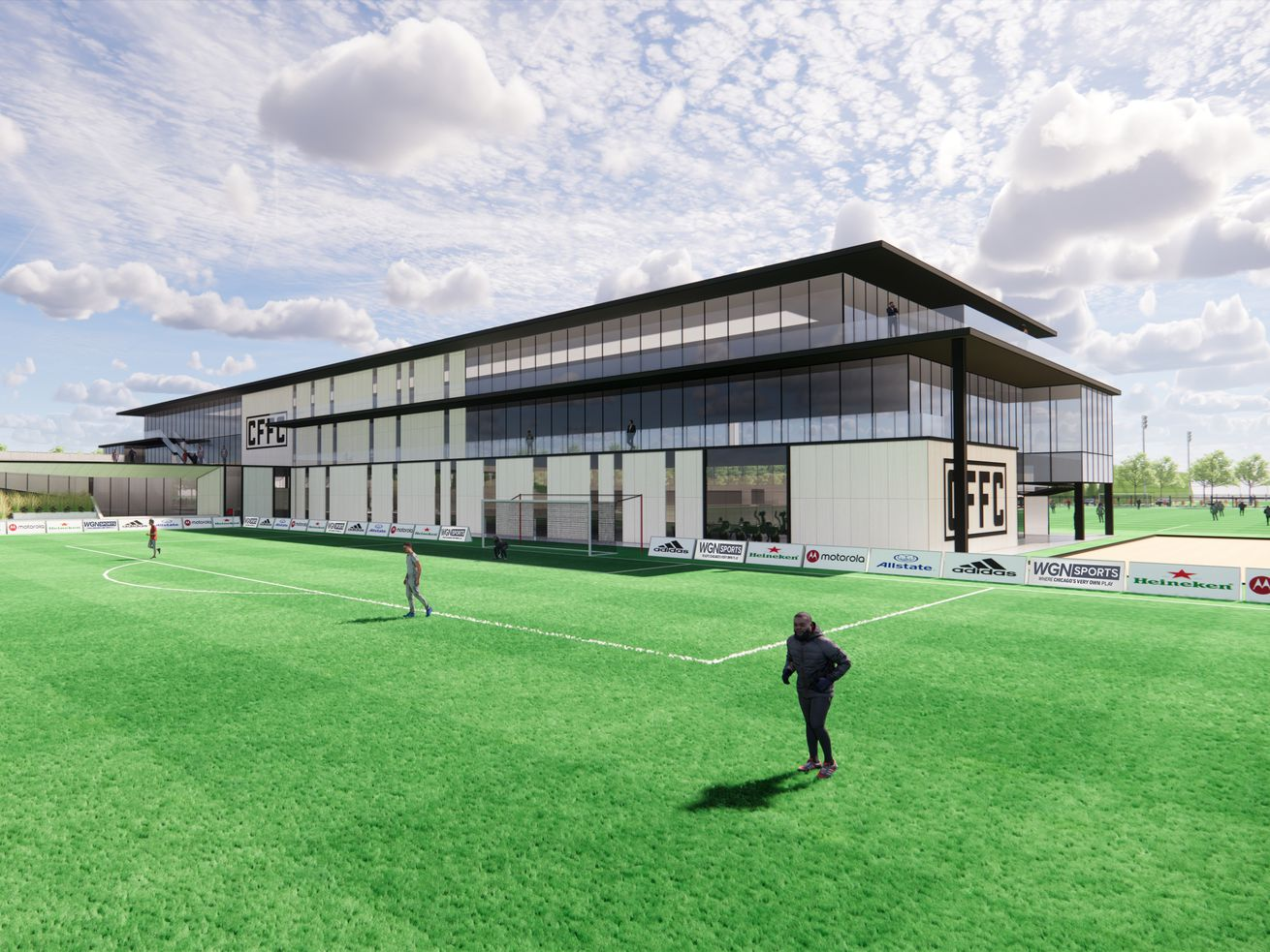 A rendering of the Chicago Fire's proposed performance center at Hanson Park.