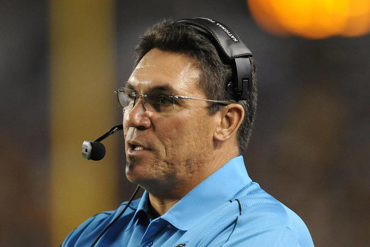 Carolina Panthers head coach Ron Rivera works the sideline during their NFL preseason football game against the Pittsburgh Steelers, Thursday, Aug. 30, 2012, in Pittsburgh.