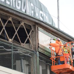 12:32 p.m. A closer view of the exposed framework, above where the marquee was located -