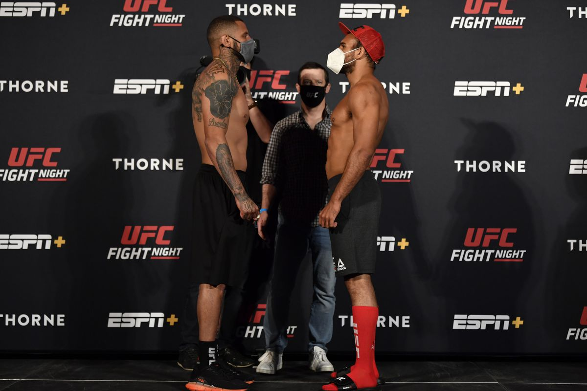 Opponents Daniel Rodriguez and Gabe Green face off during the UFC weigh-in at UFC APEX on May 29, 2020 in Las Vegas, Nevada.
