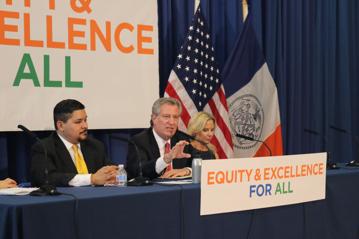 Mayor Bill de Blasio (middle) at a press conference about test scores with Chancellor Richard Carranza at P.S. 204 in the Bronx