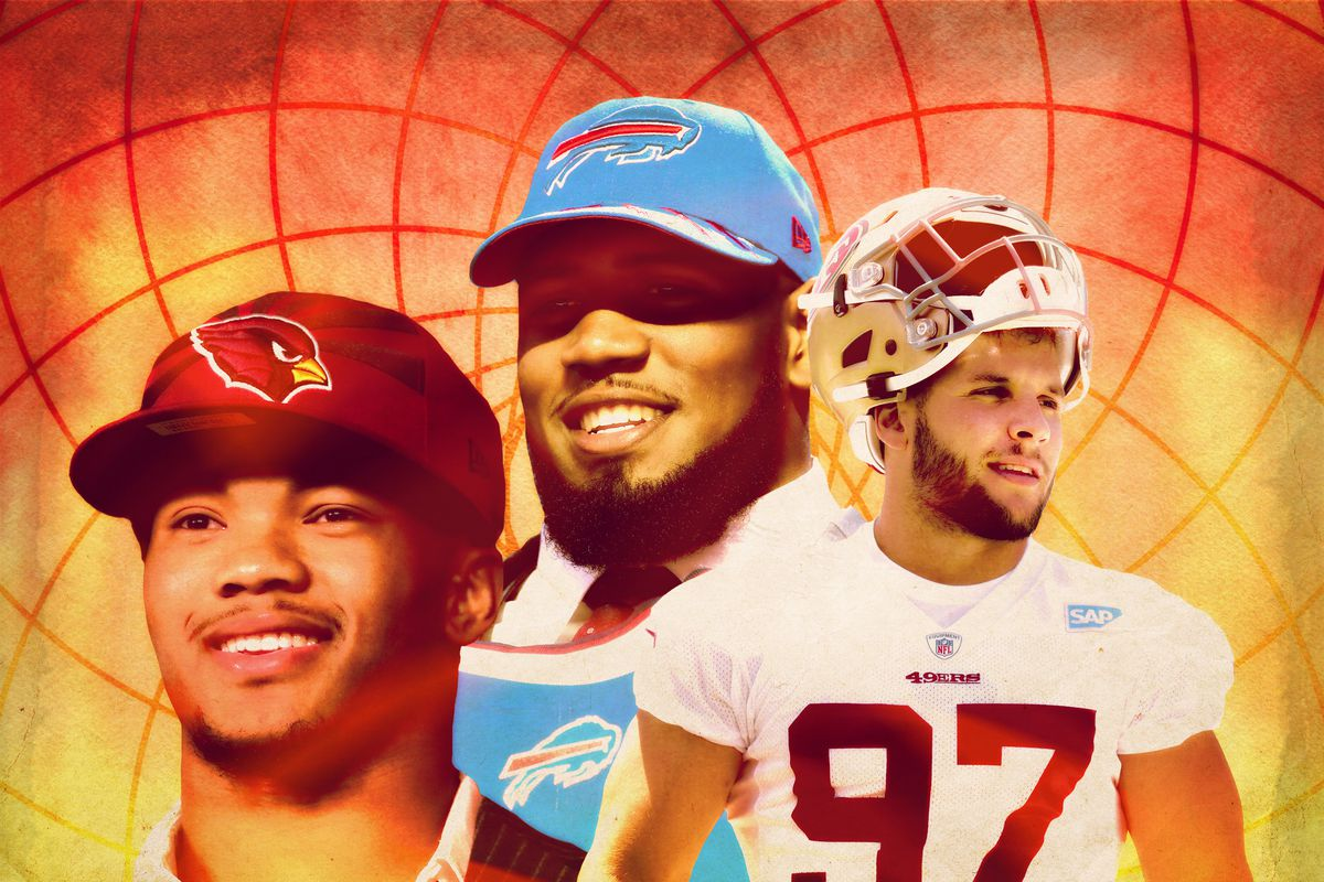 A photo illustration featuring Kyler Murray, Ed Oliver, and Nick Bosa