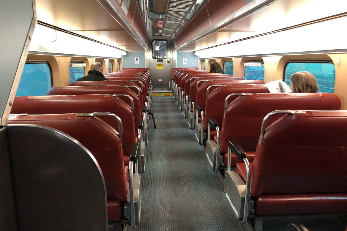 With many people working from home, this inbound Metra train car on the Union Pacific North line was nearly empty at 8:30 a.m. Monday, March 16, 2020.
