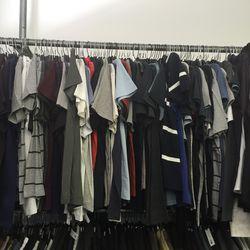 Men's tees and shirts, $50