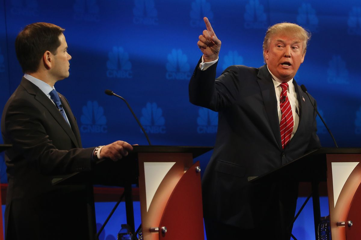 Donald Trump, right, needs to be at the center of attention in the debates, while the party wants to see how he stacks up to Marco Rubio, left, and others who faced off last week on CNBC.